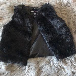Limited Too Leather & Fur Vest